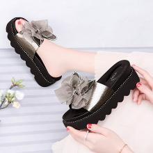 百年纪念   一字型坡跟凉拖蝴蝶结设计女鞋防水台女鞋凉拖子bn1961