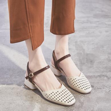 ZHR新款夏季包頭涼鞋女鏤空粗跟一字扣中跟單鞋赫本瑪麗珍鞋