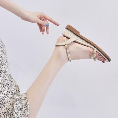 ZHR涼鞋女仙女風新款夏低跟坡跟透明鉚釘一字帶平底網紅女鞋