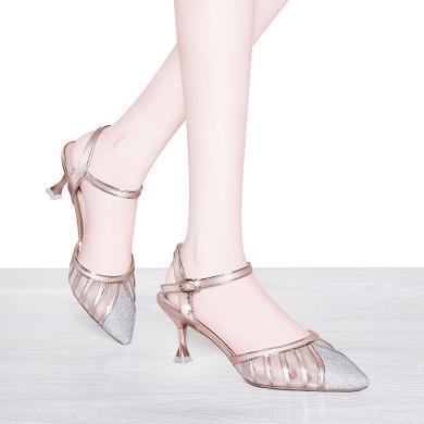 萊卡金頓 包頭涼鞋女2019新款夏季細跟性感百搭時尚女鞋網紗尖頭淺口高跟鞋 LK/6730