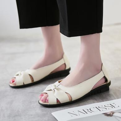 【3色可選】夏季魚嘴平底一腳蹬鏤空單鞋媽媽鞋中老年涼鞋女鞋  DL 9588