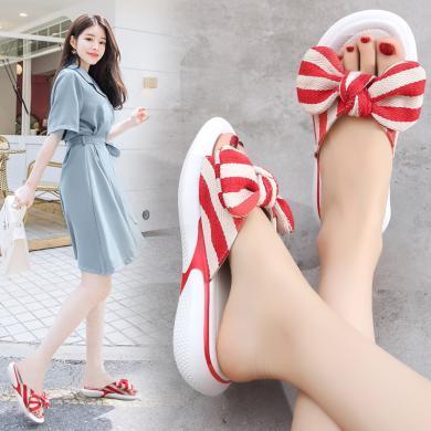 【2色可選】女士蝴蝶結平底涼拖鞋女鞋外穿百搭時尚拖鞋舒適簡約  MN9808