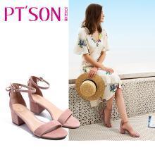 百田森 PYQD8332新款一字扣凉鞋女粗跟夏中跟韩版鞋子