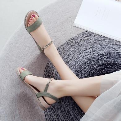 ZHR凉鞋女新款时尚温柔罗马夏季仙女风平底女鞋中跟百搭鞋子