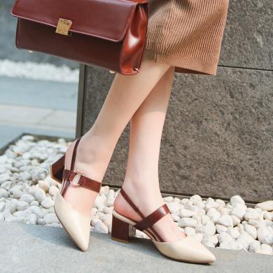 阿么瑪麗珍鞋學生尖頭粗跟韓版高跟鞋包頭女士2019年新款涼鞋女
