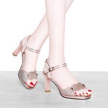 莱卡金顿 高跟凉鞋女2019新款时尚百搭中跟仙女风一字扣带粗跟女士鞋子 LK/6721