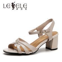 萊思麗女涼鞋網紅夏季新款女鞋 簡約牛皮粗跟涼鞋女露趾涼鞋女QEH91-LB6491