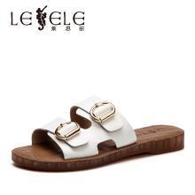 莱思丽女凉鞋夏季时尚一字拖鞋低平跟女鞋 双针扣带牛皮凉拖女KE91-LB5970