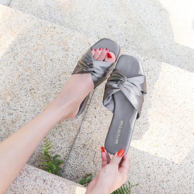 搭歌2019夏季新款涼拖外穿時尚一字拖女鞋綢緞拖鞋FFH101-13