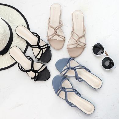 搭歌2019夏季新款外穿女士拖鞋時尚交叉帶拖鞋FFH6848-3