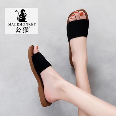 公猴拖鞋女外穿夏季新款網紅涼拖平底時尚韓版百搭外出ins潮