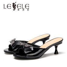 莱思丽女鞋夏季新款牛漆皮女鞋 甜美蝴蝶结高跟细跟露趾凉拖女HAE91-LB6660