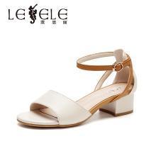 莱思丽女鞋官方网红鞋夏季新款女鞋 中粗跟露趾凉鞋女牛皮鞋女BFX91-LB7938