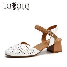 莱思丽女鞋夏新款包头镂空凉鞋女透气一字扣真皮洞洞鞋女粗跟KE91-LB4989