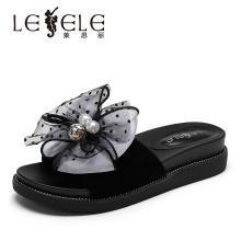 莱思丽LESELE夏季新款中跟女鞋 羊京蝴蝶结坡跟网红凉拖鞋女KE91-LB6359