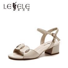 莱思丽凉鞋女夏季新款凉鞋女ins潮粗跟露趾牛皮凉鞋法式高跟鞋DFN91-LB7961