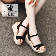 公猴夏季新款坡跟凉鞋女松糕厚底休闲罗马学生女鞋中跟凉拖鞋