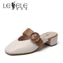 莱思丽女鞋夏季新款方头女鞋拼接羊皮粗跟拖鞋女中跟包头凉拖KE91-LB5791