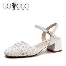 莱思丽凉鞋女夏季新款女凉鞋 羊皮粗跟中空凉鞋女高跟扣带凉鞋KE91-LB5417