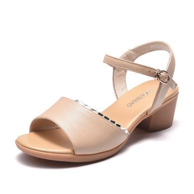 富贵鸟凉鞋女粗跟中年沙滩中老年女防滑老人软底舒适奶奶鞋 N99D601C