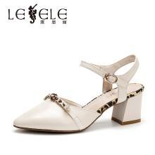 莱思丽女鞋法式少女高跟鞋夏季新款牛皮凉鞋 豹纹风尖头单鞋女BFX91-LB7936