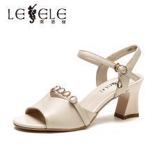 莱思丽女鞋夏季新款女鞋 粗跟露趾网红凉鞋女牛皮法式高跟鞋女DFN91-LB7950