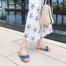 搭歌2019夏季新款低跟女鞋绸布沙滩鞋平底拖鞋时尚外穿FFH6848-6