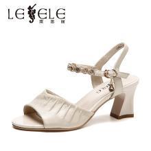 莱思丽女凉鞋夏季新款凉鞋女 牛皮粗跟网红凉鞋女法式高跟鞋女DFN91-LB7951