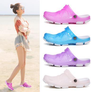 美駱世家洞洞鞋女夏季休閑沙灘鞋女士涼拖鞋包頭拖鞋防滑軟底涼鞋QC-8022
