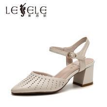 莱思丽女凉鞋夏新款粗跟职业女鞋 牛皮尖头女凉鞋高跟后空凉鞋BFX91-LB7937