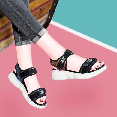 古奇天倫 夏季露趾平底涼鞋女小熊大底魔術貼鞋子女學生涼鞋 GQ/9536