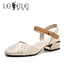 莱思丽少女拼接中跟包头鞋 夏季新款女鞋牛皮一字扣粗跟凉鞋女HAE91-LB7863