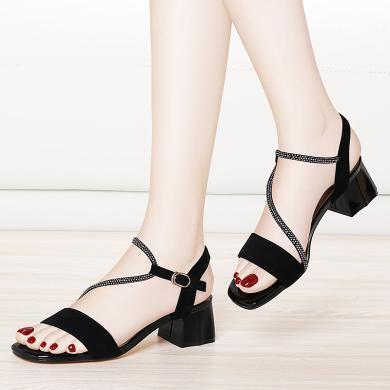 金絲兔涼鞋女粗跟新款夏季不累腳中跟時尚百搭一字高跟鞋不磨腳女鞋