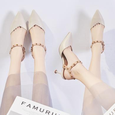 ZHR夏新款单凉鞋女细跟尖头铆钉仙女风ins高跟鞋配裙子的单鞋