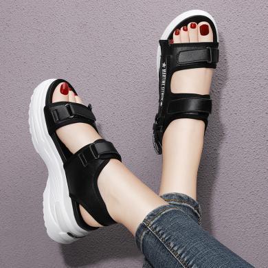 金絲兔涼鞋女ins潮夏季新款韓版百搭魔術貼時尚平底運動厚底增高鞋