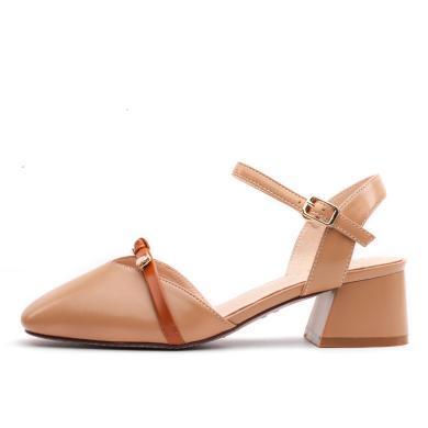 奧古獅登2019新款夏季包頭涼鞋女仙女風中跟單鞋尖頭一字帶粗跟高跟鞋百搭9254