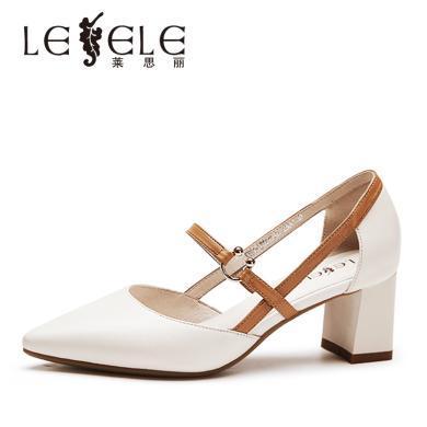 莱思丽LESELE夏季新款女鞋高跟鞋包头度假一字带粗跟凉鞋女KE91-LE5516