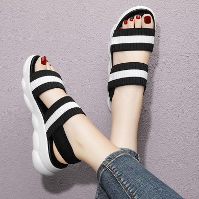 金絲兔運動涼鞋女夏季新款韓版黑白拼色松糕厚底露趾增高休閑羅馬鞋
