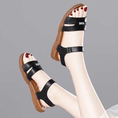 金絲兔涼鞋女夏新款百搭chic鞋子復古女羅馬平底坡跟韓版一字扣女鞋