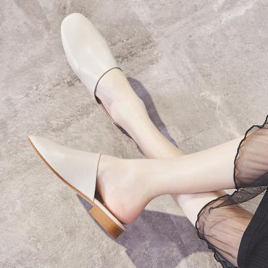 ZHR新款夏涼拖鞋女外穿時尚百搭包頭柔軟平底穆勒鞋圓頭學生
