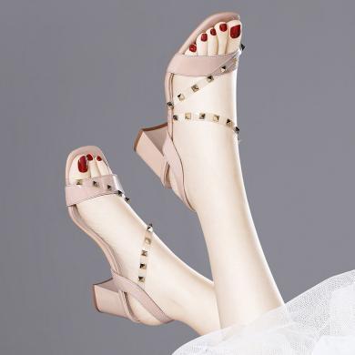 金絲兔涼鞋女仙女風新款夏季時尚百搭粗跟鉚釘環形綁帶魚嘴高跟鞋女