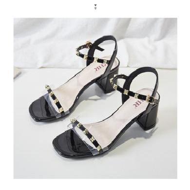 ZHR新款凉鞋女ins潮仙女风粗跟铆钉高跟鞋超火透明配裙子的鞋