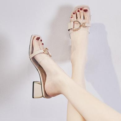 ZHR新款?#32784;?#38795;女外穿时尚百搭方头粗跟中跟透明一字带凉拖鞋