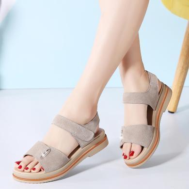 韓版魔術貼涼鞋女鞋簡約舒適涼鞋防滑百搭休閑涼鞋  MN-622