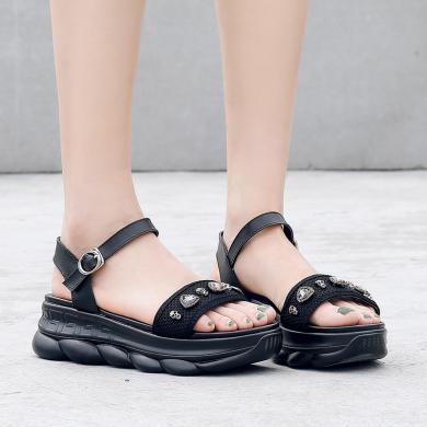 ZHR老爹凉鞋女新款夏网红水钻休闲一字扣松糕跟百搭厚底鞋子