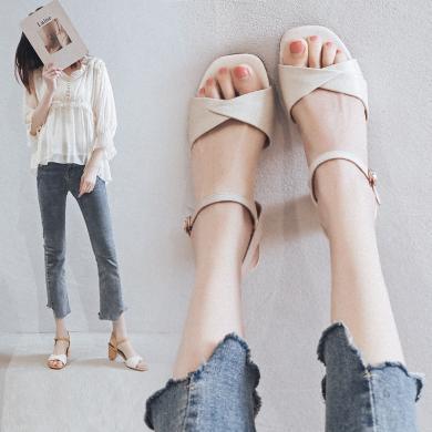 阿么2019夏季涼鞋新款潮鞋女粗跟百搭韓版皮面女鞋一字扣帶涼鞋女