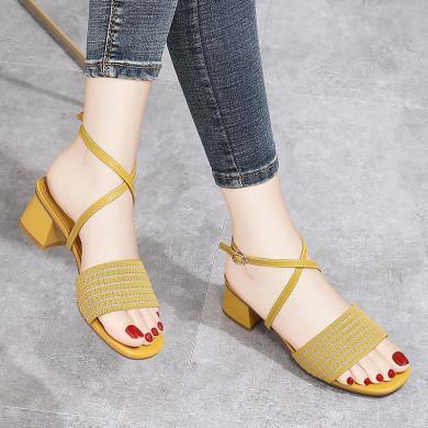 金絲兔方根涼拖鞋女方頭夏季新款外穿網紗粗跟米色中跟一鞋兩穿拖鞋