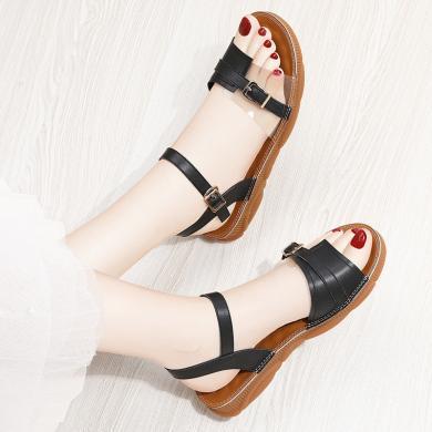 金?#23458;?#26102;尚平底低跟性感凉鞋女夏季新款韩版一字扣露趾百搭潮流女鞋