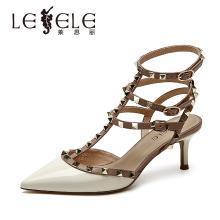 萊思麗女涼鞋夏季新款漆皮鉚釘鞋 包頭尖頭綁帶細高跟鞋女涼鞋KE91-LB6719
