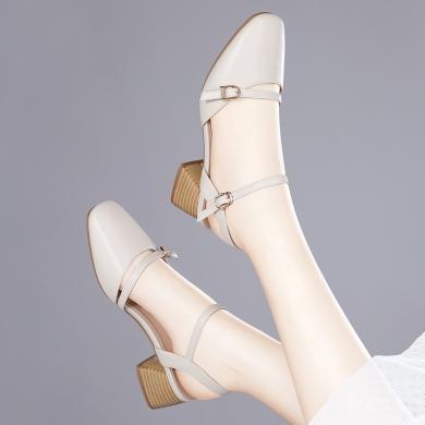 金絲兔ins網紅超火包頭涼鞋女中跟舒適鞋子鏤空一字帶時尚百搭拼色女鞋